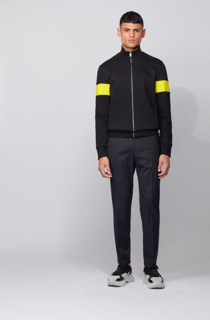 Sweater van sweatstof met ritssluiting en monogrampatch