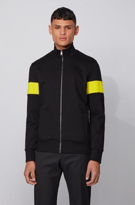Sweater van sweatstof met ritssluiting en monogrampatch, Zwart