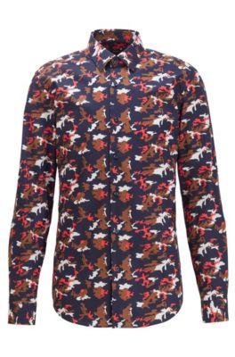 Slim-fit overhemd van katoenen popeline met camouflageprint, Rood