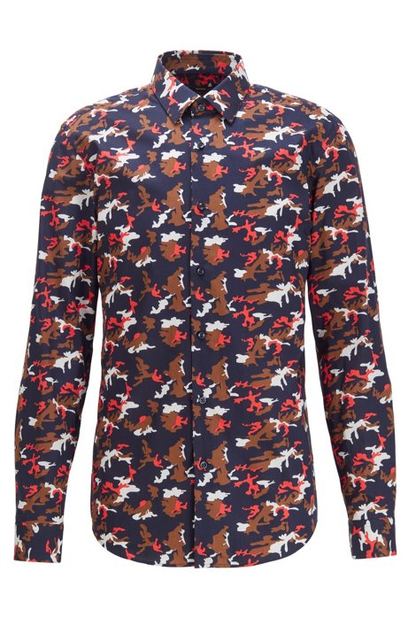 Slim-fit shirt in cotton poplin with camouflage print, Red
