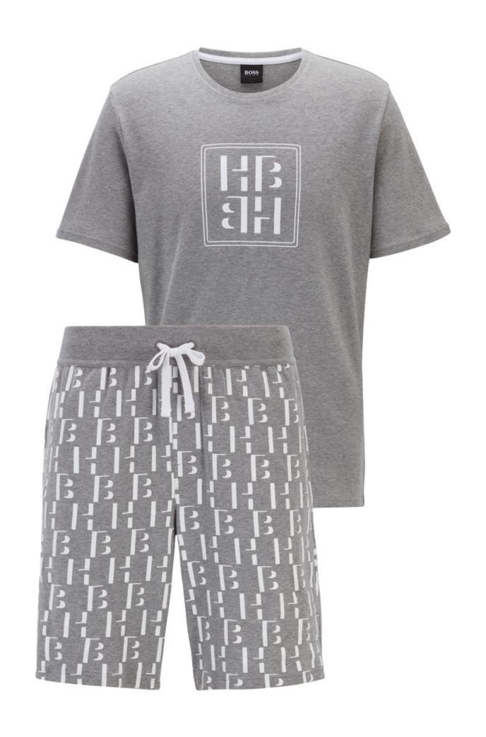 Regular-fit pyjamaset van katoen met monogramprint