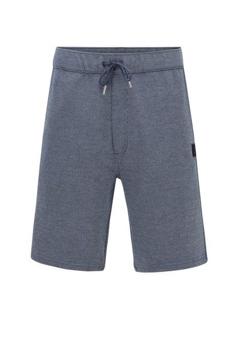 Drawstring-waist shorts in cotton-blend jacquard jersey, Dark Blue