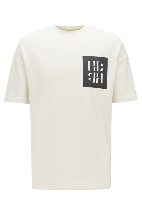 Cotton jersey T-shirt with mixed-print monogram graphics, Natural
