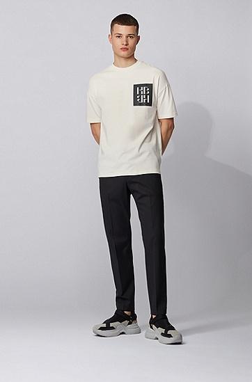 混合印花交织字母图案棉质平针织面料 T 恤,  118_淡白色