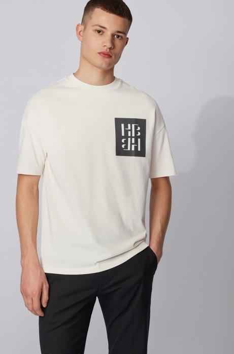 T-shirt in jersey di cotone con stampa grafica mista del monogramma, Bianco