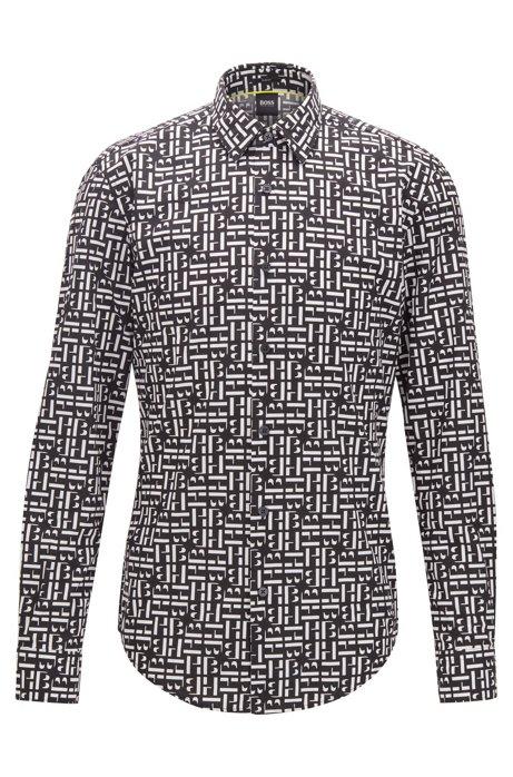 Slim-fit overhemd van katoen met monogramprint, Zwart