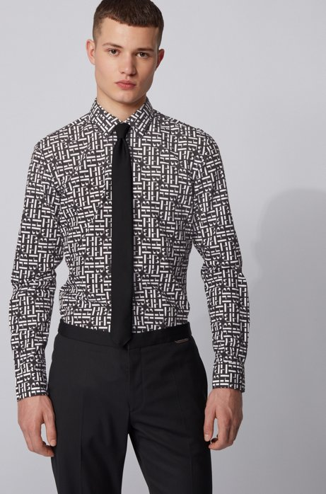 Slim-fit shirt in cotton with monogram print, Black