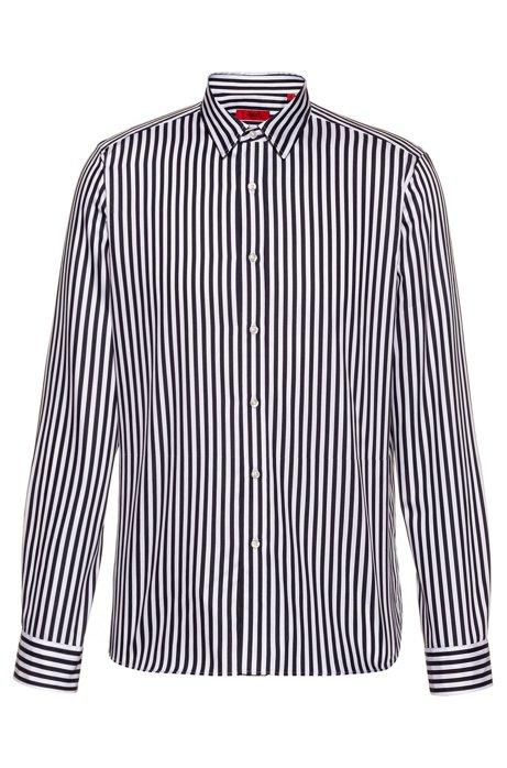 Relaxed-fit overhemd van gestreepte katoensatijn, Bedrukt