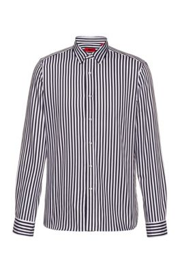 Relaxed-fit shirt in striped cotton satin, Patterned