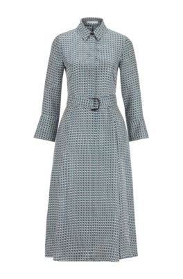 Hemdblusenkleid aus reiner Seide mit Print der neuen Saison, Gemustert