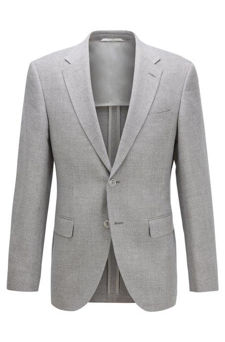 Giacca extra slim fit in lana vergine con lino, Grigio chiaro