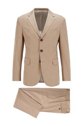 Slim-Fit Anzug aus elastischem Baumwoll-Twill, Beige