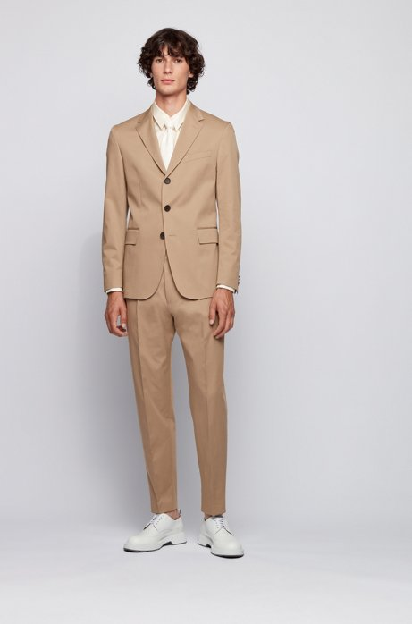 Slim-fit suit in stretch-cotton twill, Beige
