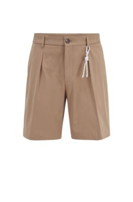 Relaxed-Fit Shorts aus Stretch-Baumwolle mit Kordel-Detail, Beige
