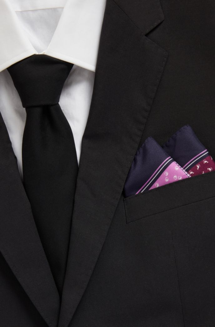 Multi-printed pocket square in water-repellent silk