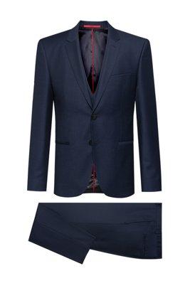 Extra-slim-fit three-piece suit in a birdseye wool blend, Dark Blue