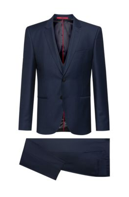 Extra-slim-fit three-piece suit in a birdseye wool blend, Dark Blue