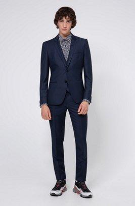 Traje con chaleco extra slim fit de mezcla de lana con diseño de ojo de perdiz, Azul oscuro