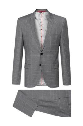 Extra Slim-Fit Anzug aus Schurwolle mit Degradé-Karo, Hellgrau