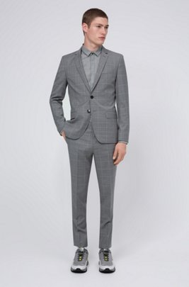 Extra-slim-fit virgin-wool suit with dégradé check, Light Grey