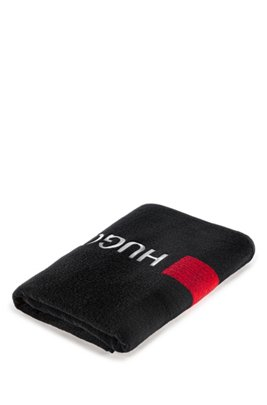 Cotton-terry beach towel with contrast logo and stripe, Black