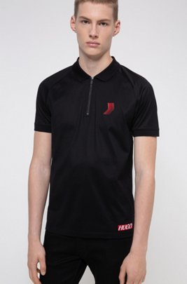 Polo Slim Fit mixte en coton mercerisé, Noir