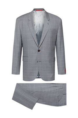 Oversized-fit suit in dégradé-check virgin wool, Light Grey