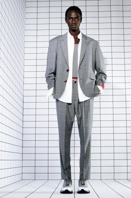 Oversized-fit suit in dégradé-check virgin wool, ライトグレー