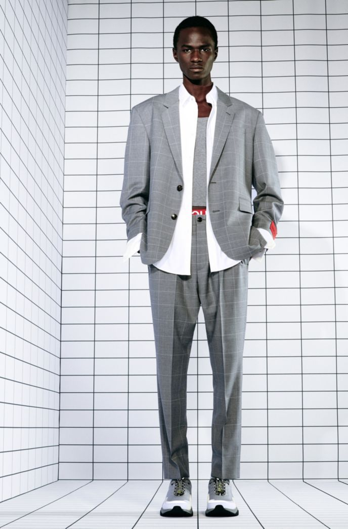 Oversized-fit suit in dégradé-check virgin wool