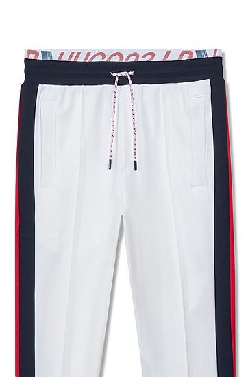 侧条纹双裤腰中性慢跑裤,  100_白色