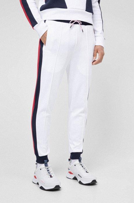 Pantaloni da jogging unisex con righe laterali e vita doppia, Bianco