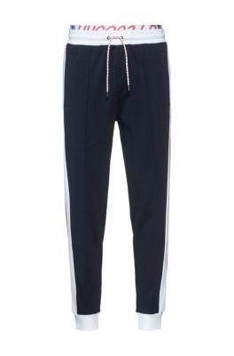 Pantalon de survêtement mixte à rayures latérales et double ceinture à la taille, Bleu foncé
