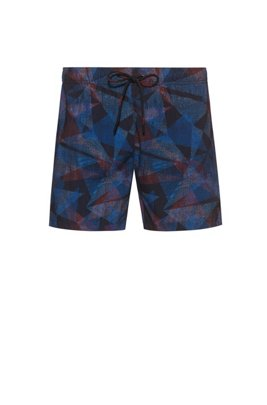 Quick-dry swim shorts with all-over print, Light Grey