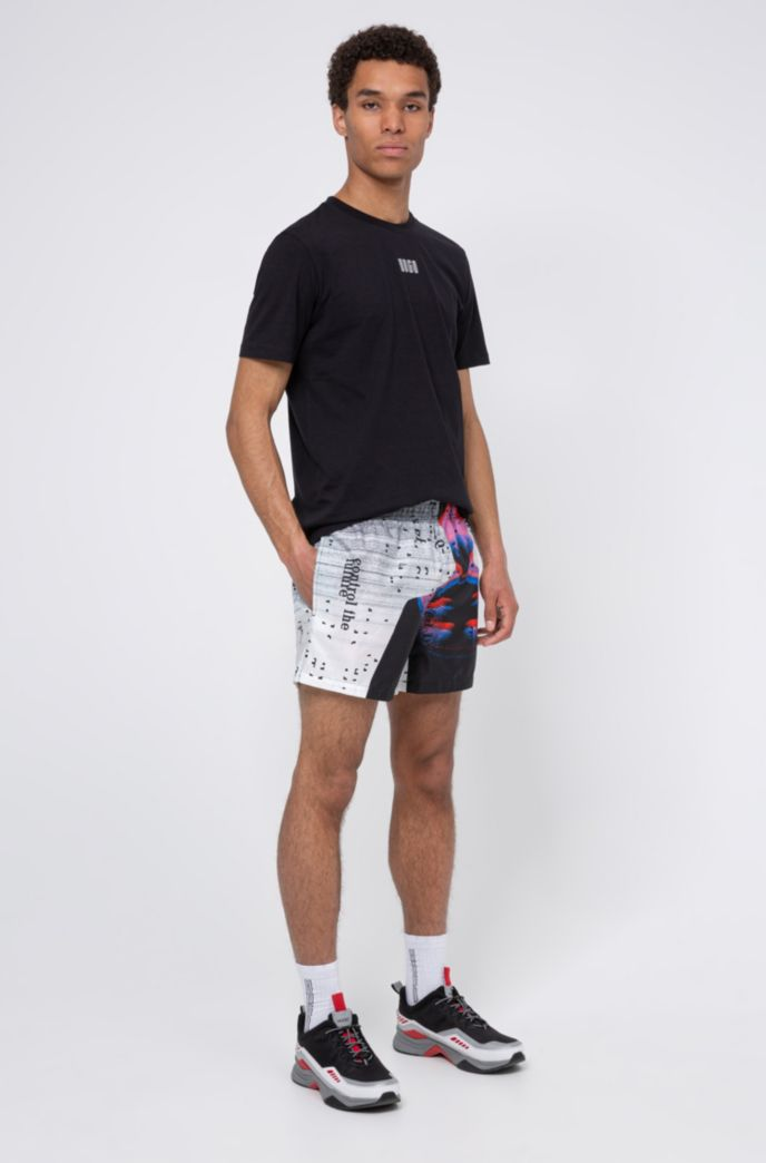 Ripstop-fabric swim shorts with graphic print