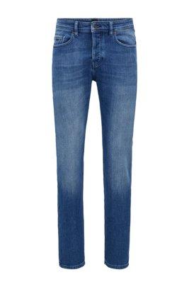 Tapered-fit jeans van oceaanblauw gebreid stretchdenim, Turkoois
