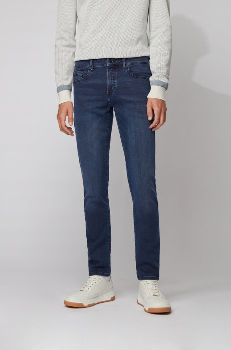 Skinny-fit jeans in knitted coated denim, Dark Blue