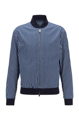 Slim-fit jacket in striped cotton, Dark Blue