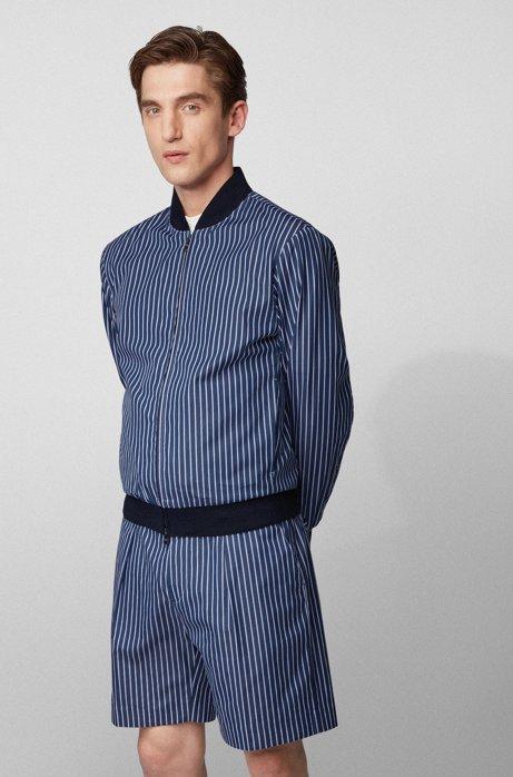 Giubbotto slim fit in cotone a righe, Blu scuro