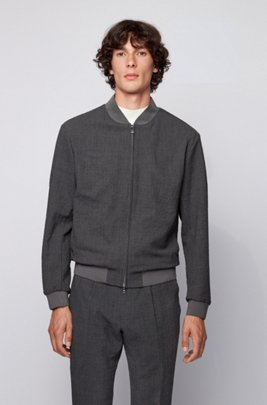 Slim-fit bomber jacket in seersucker fabric, Light Grey