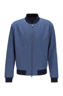 Slim-fit bomber jacket in seersucker fabric, Dark Blue