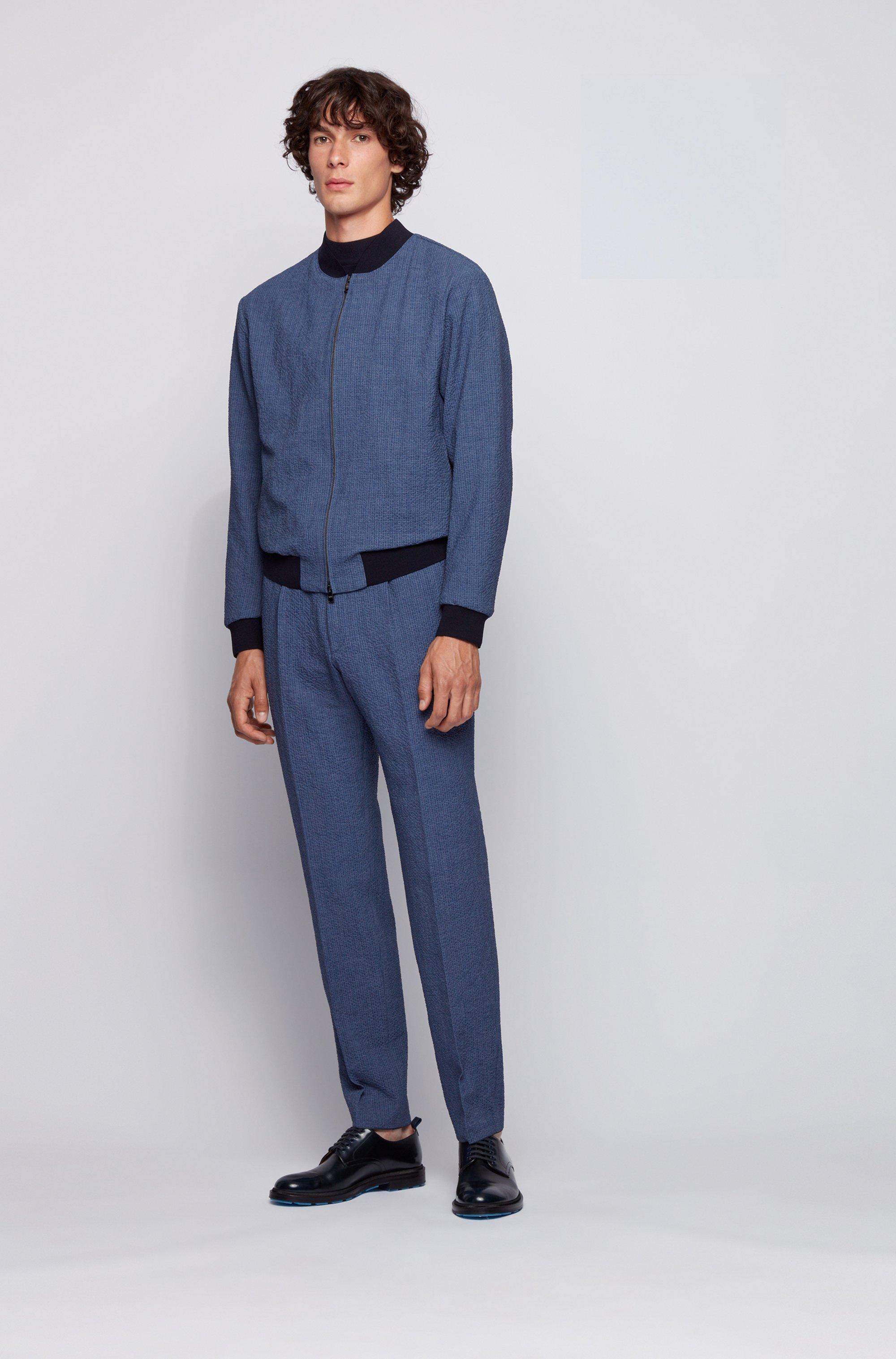 Slim-fit bomber jacket in seersucker fabric