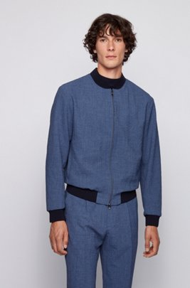 Slim-fit bomber jacket in seersucker fabric, Dark Blue