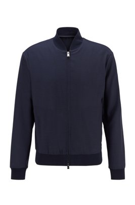 Slim-fit blouson-style jacket in virgin wool, Dark Blue