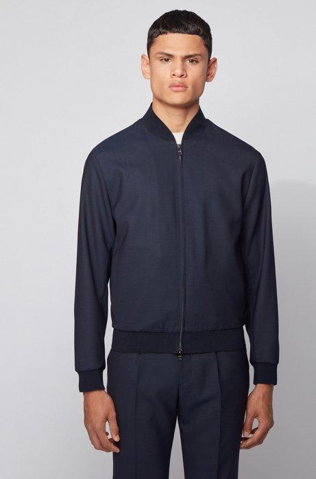 Slim-fit blouson-style jacket in virgin wool, Dark Blue