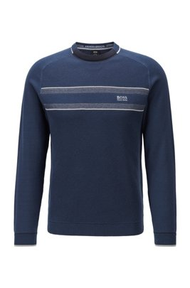 Mixed-structure sweater in an organic-cotton blend, Dark Blue
