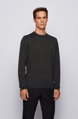 Crew-neck sweater in an S.Café and wool blend, Dark Grey