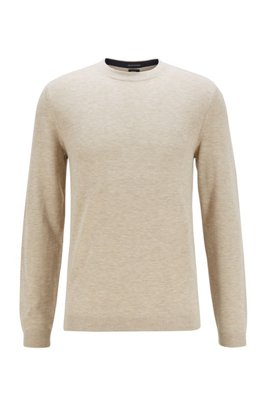 Crew-neck sweater in an S.Café and wool blend, Light Beige