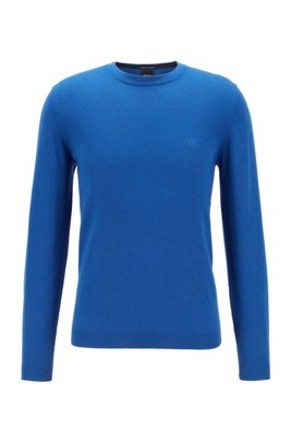 Crew-neck sweater in an S.Café and wool blend, Light Blue