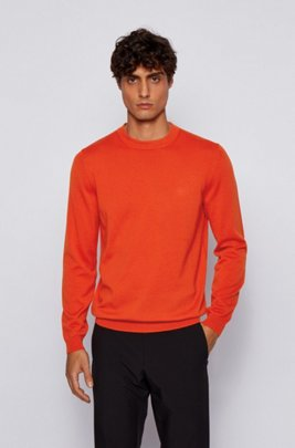 Crew-neck sweater in an S.Café and wool blend, Dark Orange
