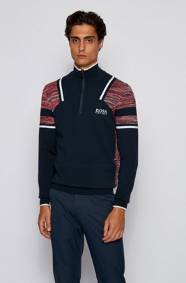 Zip-neck sweater with mouliné colour-blocking, Dark Blue